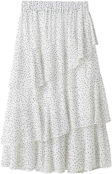 Proumy Falda de Gasa Blanca a Lunares Verano Mujer Vestido Largo ...
