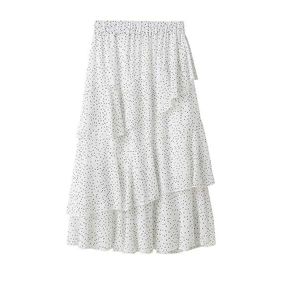 Qijinlook 💖 Faldas largas Lunares Mujer Fiesta Elegante/Faldas ...
