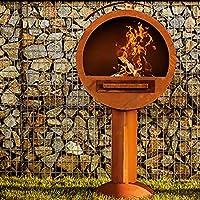 in-outdoorshop Grillkamin orange XXL Corten Grilloven Garten ✔ rostig (Edelrost) ✔ Grillen mit Holzkohle