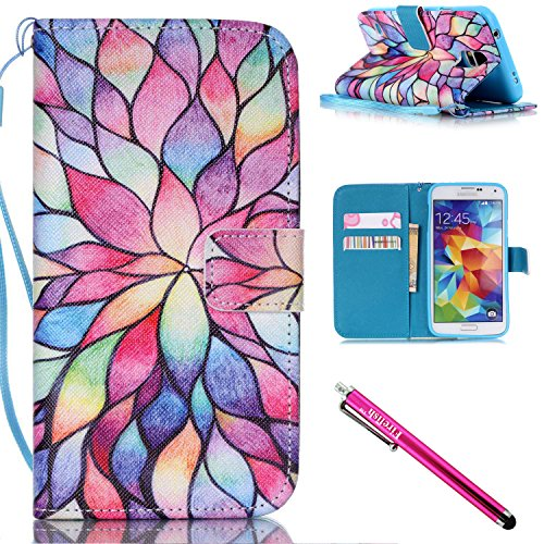 Oak Corner Gel - Galaxy S5 Case, Galaxy S5 Wallet Case, Firefish Kickstand Flip [Card Slots] Wallet Cover Double Layer Bumper Shell with Magnetic Closure Strap Case for Samsung Galaxy S5 i9600-Lotus