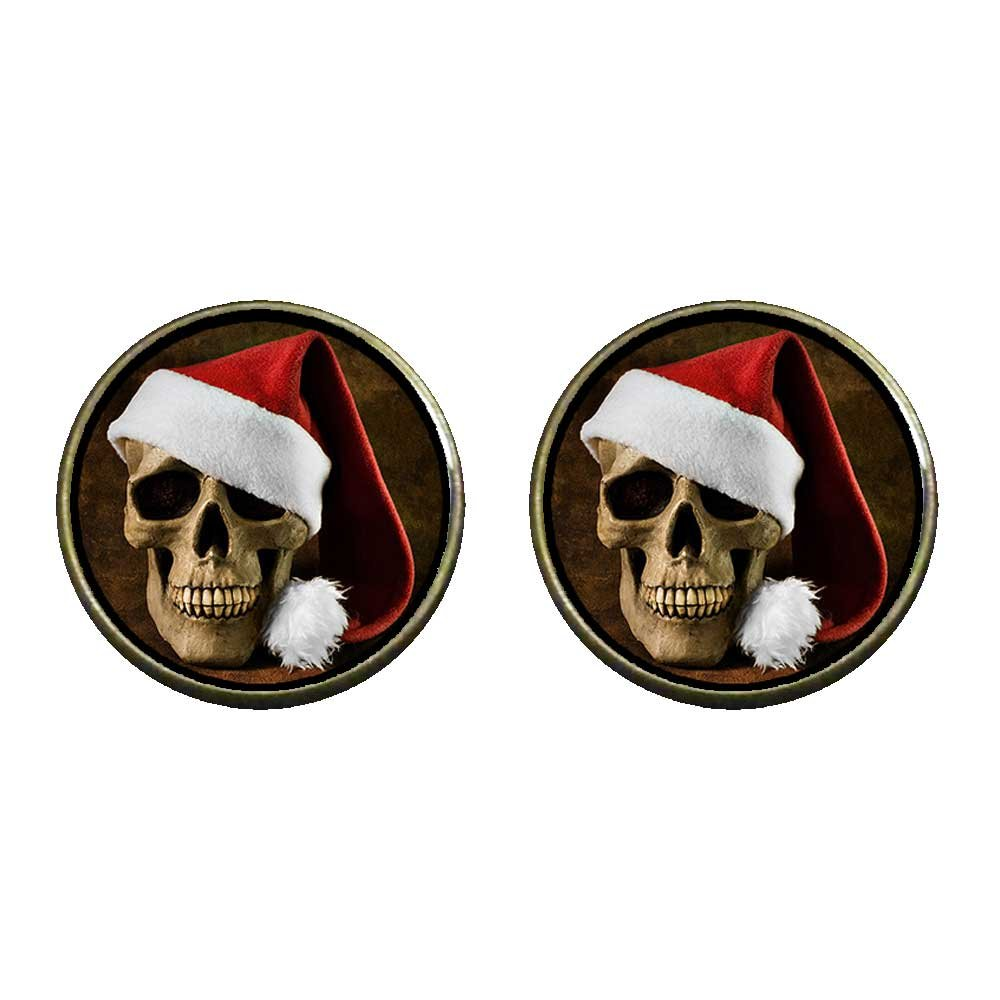 GiftJewelryShop Bronze Retro Style Skull wearing christmas hats Photo Clip On Earrings 14mm Diameter