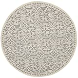 Safavieh CAM123D Cambridge Collection Handmade Wool Round Area Rug, 6-Feet, Silver/Ivory Picture