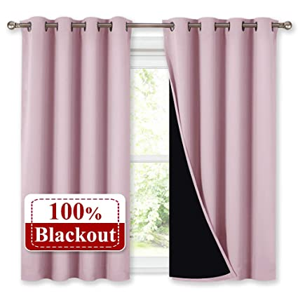 40e683c1c26 NICETOWN 100% Blackout Curtains 45 Inches Long, 2 Thick Layers Completely  Blackout Window Treatment