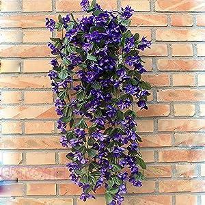 Techinal Artificial Violets Flowers, Hanging Garland Artificial Fake Violet Hanging Home Wedding Decor Vine Flowers (Blue) 97