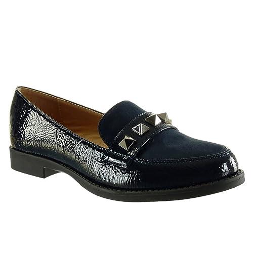 Angkorly - Zapatillas de Moda Mocasines Bimaterial Slip-on Mujer Tachonado Patentes Talón Tacón Ancho 2 CM: Amazon.es: Zapatos y complementos