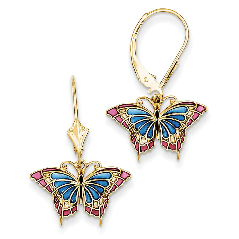14k Yellow Gold Butterfly w/ Blue Stained Glass Leverback Earrings TM754 by Lex and Lu