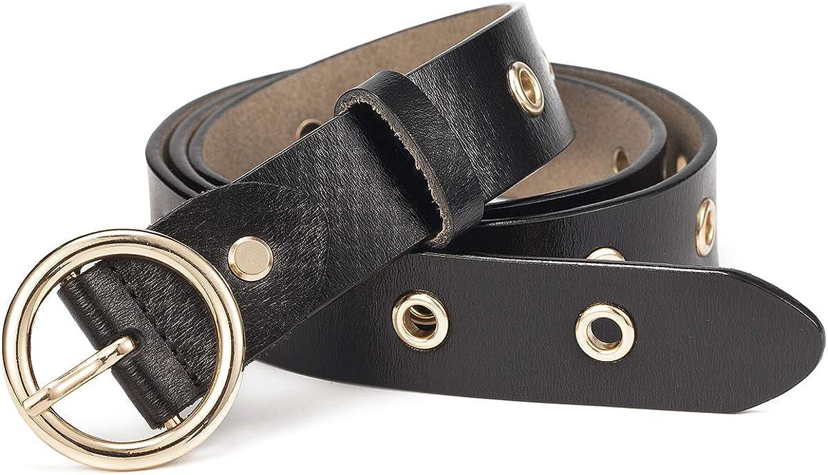McFanBe Leather Belt for Women Girls Waist Belt Alloy Buckle 1.1 Inches Width Adjustable