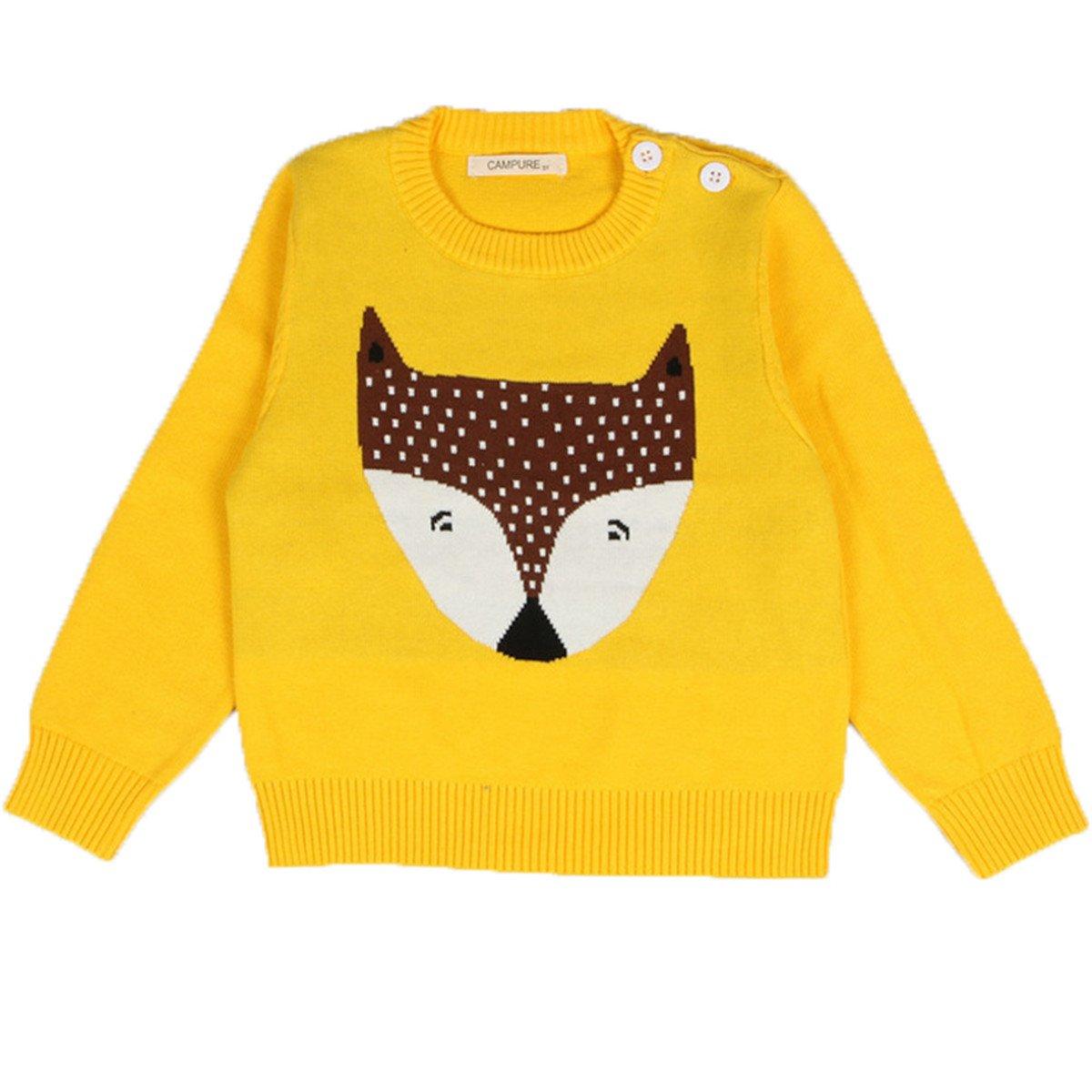 FAIRYRAIN Baby Mädchen kinder Rundhals Fuchs Ananas Cartoon Strickjacke Strickpullover Jacket Vest Pullover