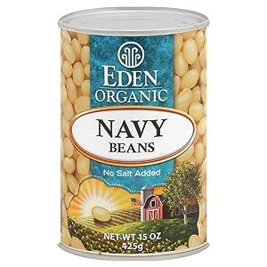 Eden Foods Organic Beans, No Salt Added, 15 OZ (Navy Beans) (Pack - 6)
