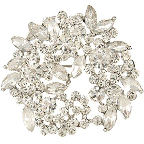 EVER FAITH Women's Austrian Crystal Wedding Floral Leaf Wreath Brooch Pendant Clear Silver-Tone