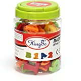 KINGSO 78 Pcs Magnetic Capital Lowercase Alphabet Letters Numbers Learning Toy W / Jar