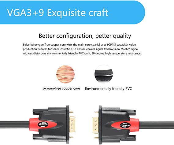 Tainston VGA to VGA Cable HD15 Monitor Cable with Ferrites Male to Male-10 Feet