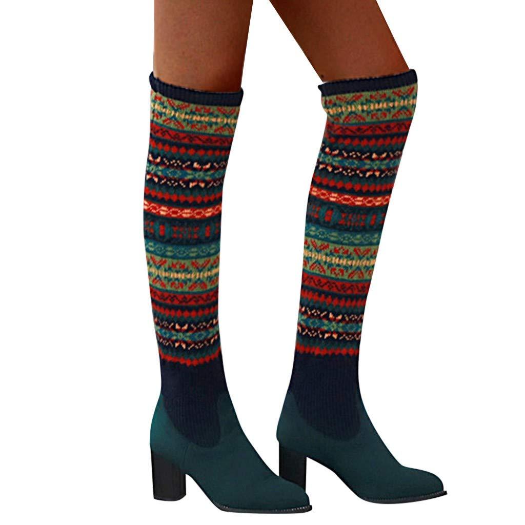 Dainzuy Women's Fashion Over The Knee Chunky High Heel Thigh High Snow Boots Christmas Winter Warm Riding Boots by Dainzuy Women's Shoes