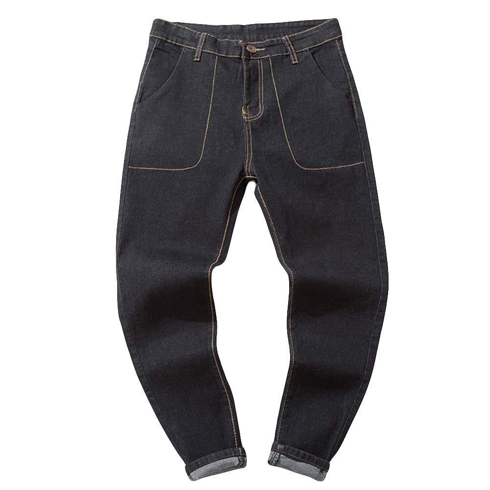 aiNMkm Mens Casual Autumn Denim Cotton Vintage Wash Hip Hop Work Trousers Jeans Pants