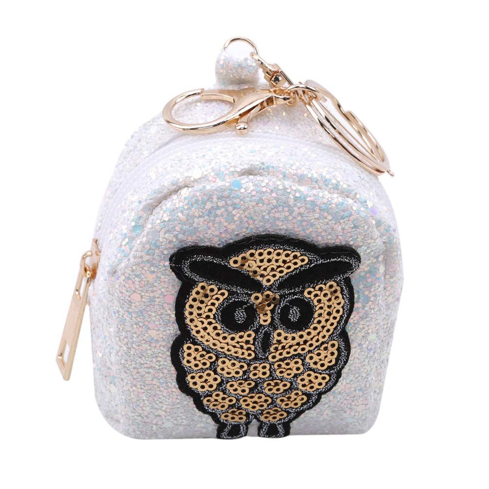 Flybloom Cartoon Owl Pattern Sequins Coin Purse Bag Mini Key Ring Holder Small Wallet, Black