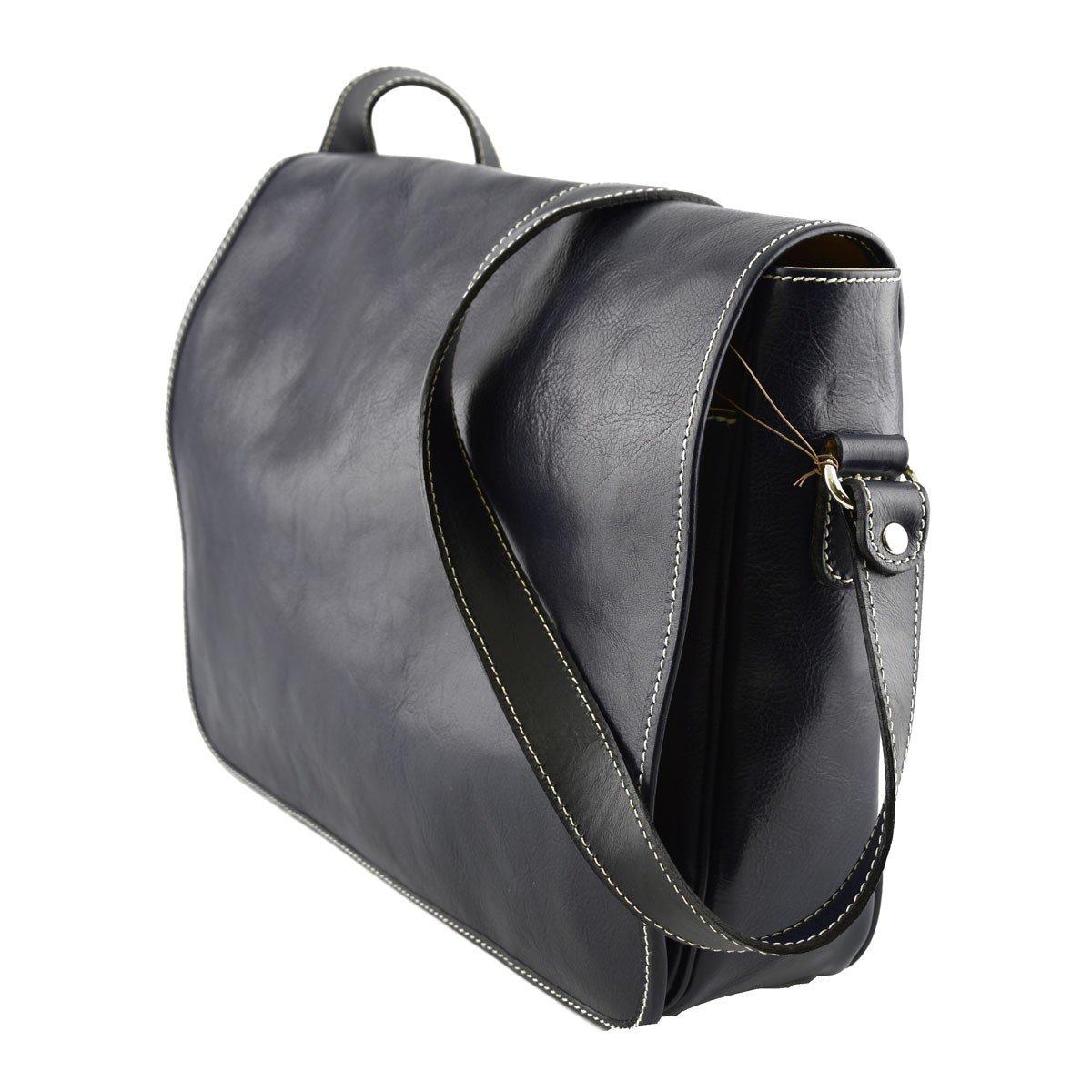 Leather Messenger Bag Color Dark Blue