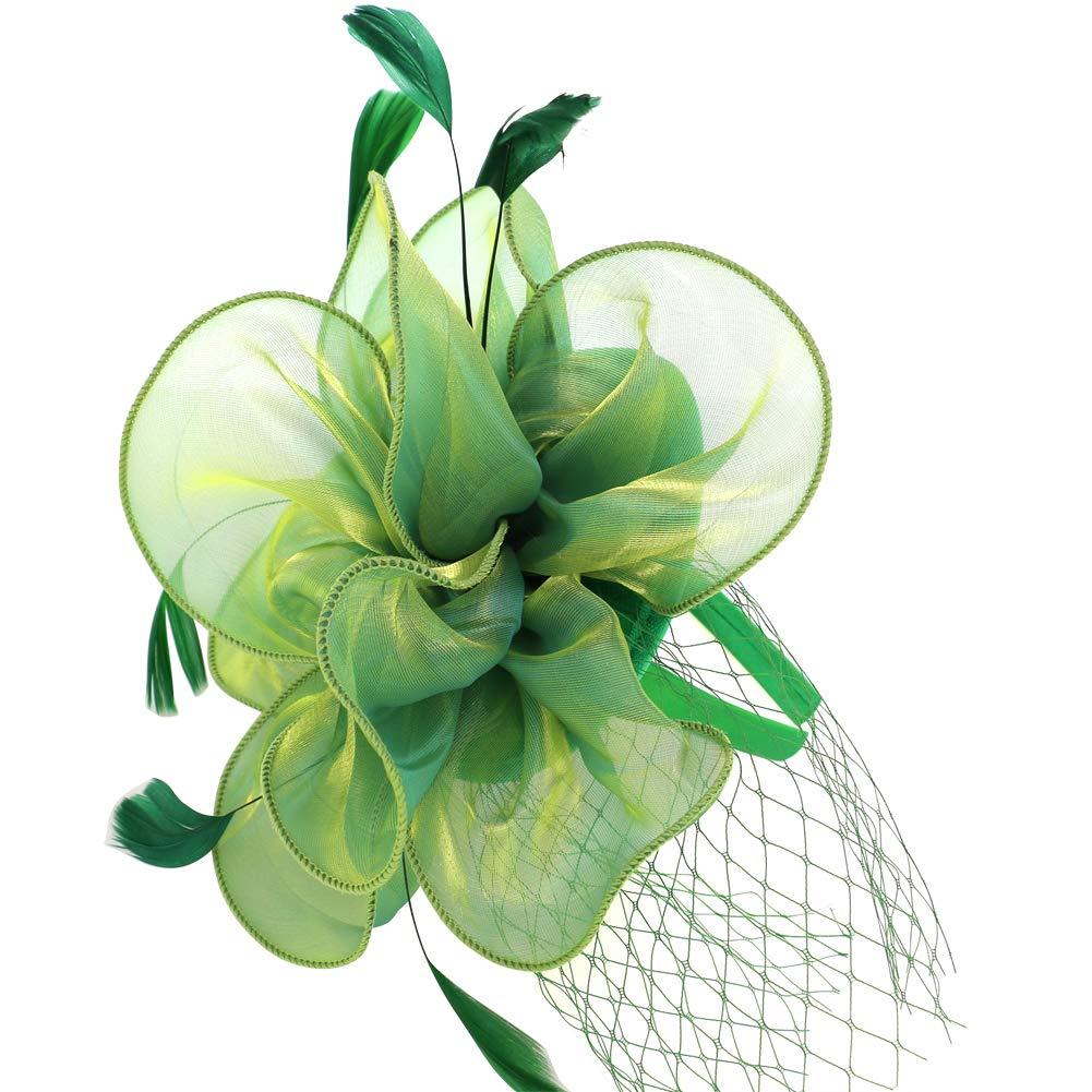 Toplay Green Nude Fascinator Sinamay Bridal Wedding Headband Cocktail Feather Mesh Net Veil Party Flower Clip Kentucky Derby Hat Women Ladies Girls