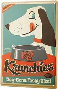 LEotiE SINCE 2004 Tin Sign Metal Plate Decorative Sign Home Decor Plaques Dog Decoration Nostalgia Dog Food Bowl Metal Plate 8X12