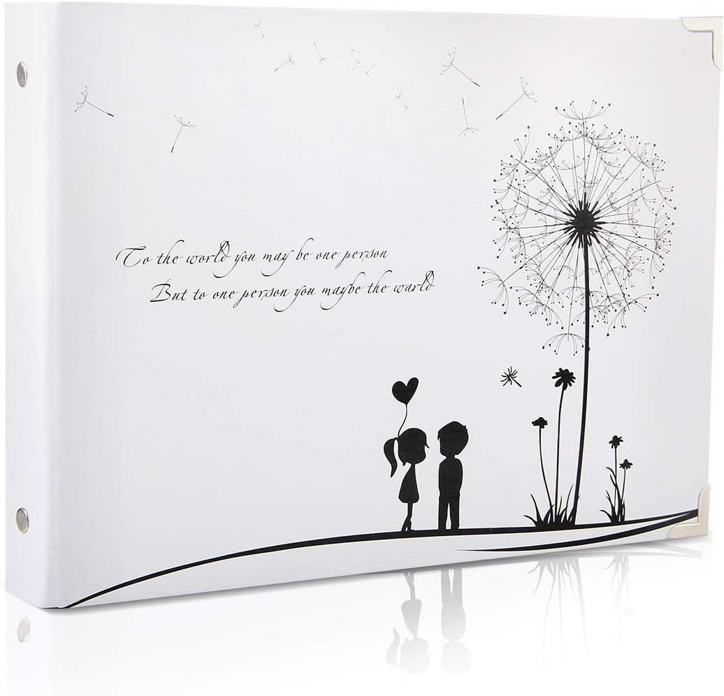ThxMadam Scrapbook Álbum de Fotos Libro de Visitas de Boda con 50 Páginas Negras Presentes para Regalo de Valentín Día de Aniversario Navidad Cumpleaños para Esposa Hija Madre, Diente de león B