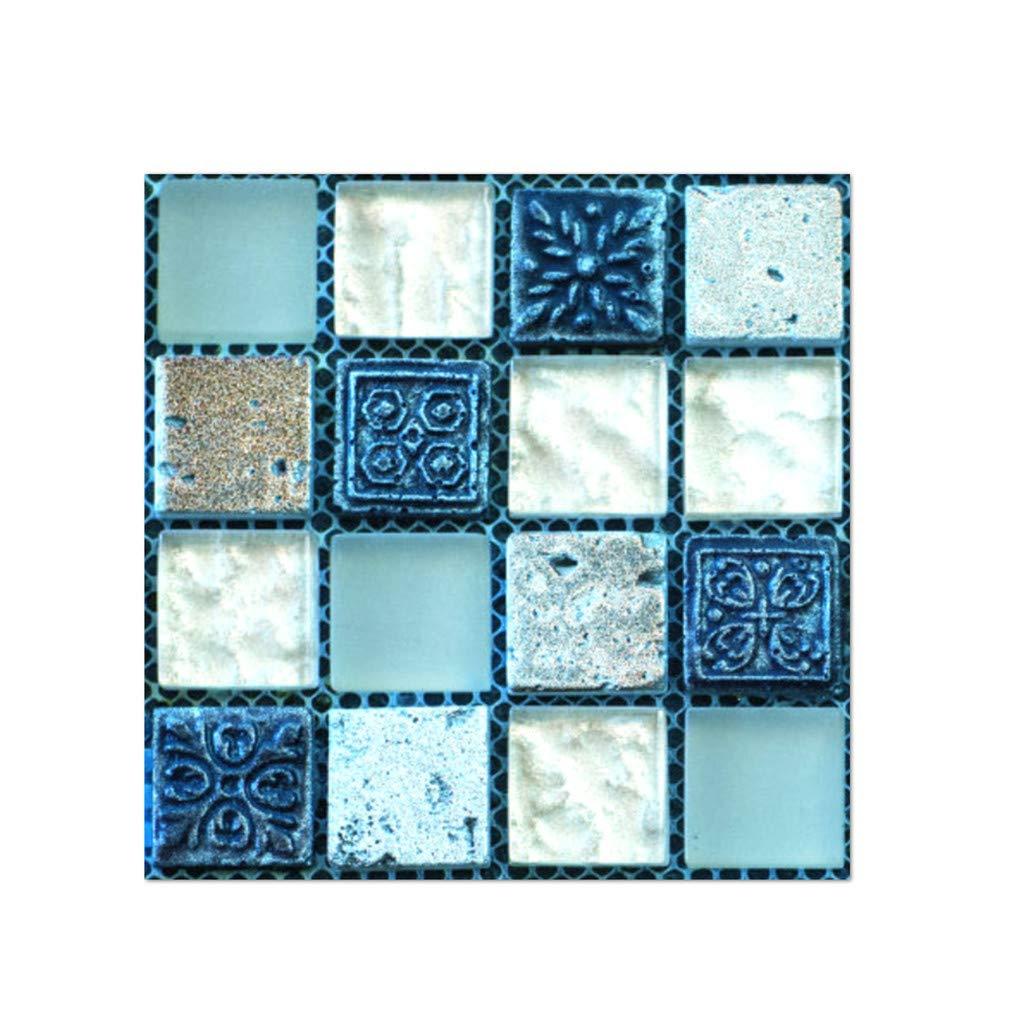 20 Pcs Mosaic 3D Wall Stickers Self Adhesive Tile Floor Wall Decals Fire Retardant Backsplash Kitchen Bathroom Mirror Decor (H, One Size)