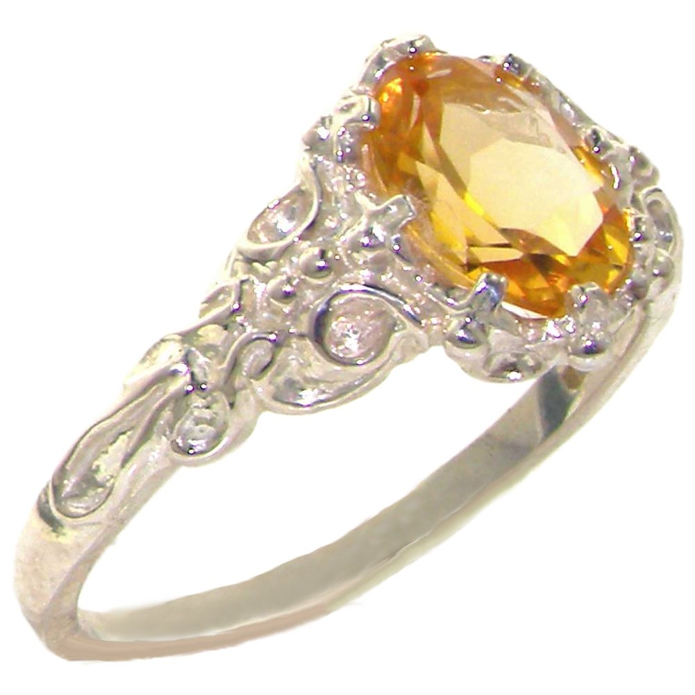 925 Sterling Silver Natural Citrine Womens Promise Ring - Size 5.5