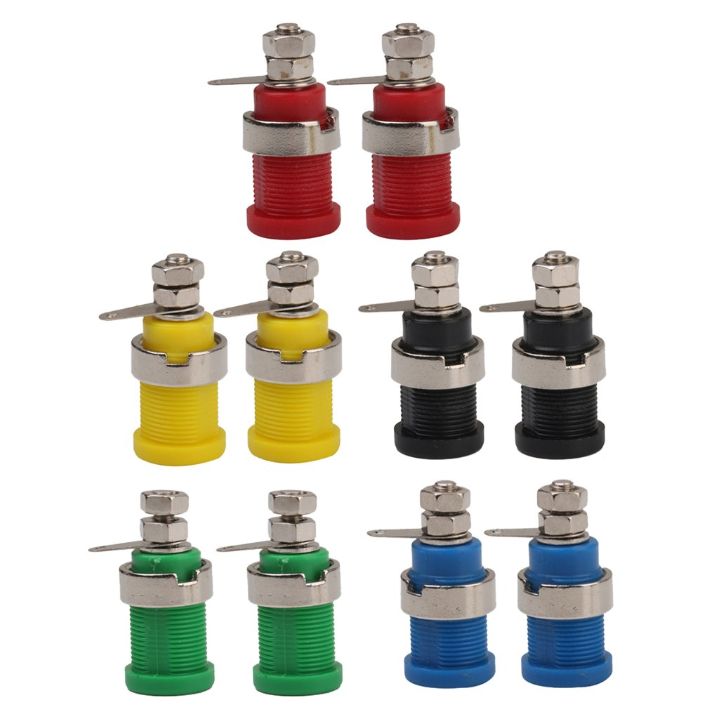Set of 10 30mm Safety Protection Plug Binding Post Banana Jack 2pcs/Each color (Yellow, Green, Red, Black, Blue) Generic