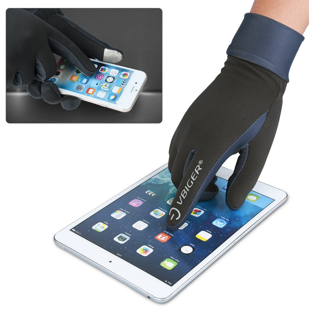 Vbiger Herren Touchscreen Handschuhe Winterhandschuhe Anti-Rutsch Outdoor Sport Handschuhe Fahren Radfahren Handschuhe mit Fleece Liner, S,  Graue-1