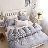 ManFan 4pcs in 1 King Aloe Cotton Bedding Set Solid Color AB Bed Protector Home Quilt Cover Blanket School Dorm Cartoon Print - Eternal point