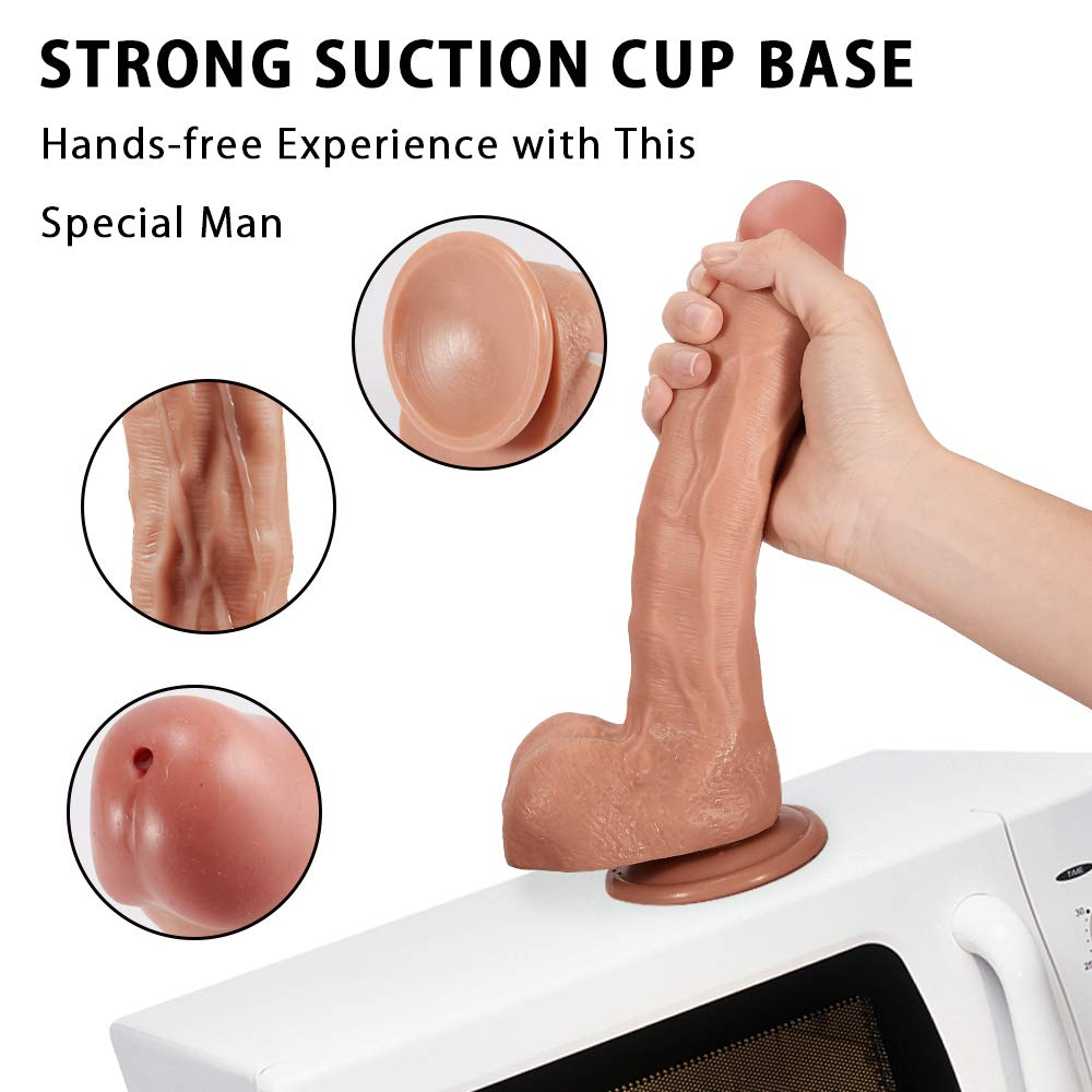 9.5'' G-spot Ejaculating Dildo, Realistic Squiring Male Erection Penis with Strong Suction Cup, Fondlove Large Black Thick Cock Anal Strap on Dildo Easy Insertable Sex Toy for Lesbian and Couple by Fondlove (Image #6)
