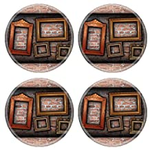 MSD Natural Rubber Round Coasters IMAGE 24659462 vintage room interior backdrop with ancient empty wood frames ready design