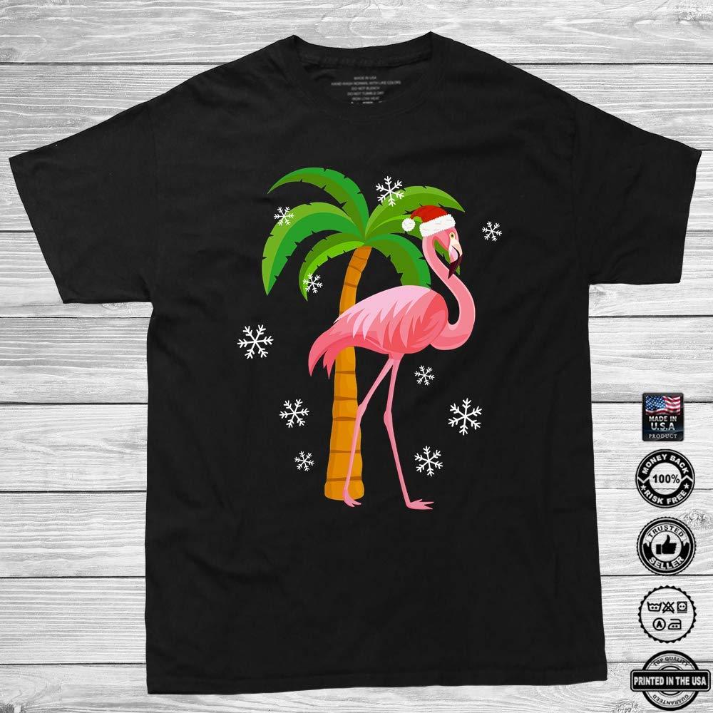 Pink Flamingo Santa Hat Christmas Holiday Xmas Gift Customized Handmade T Shirt Lon