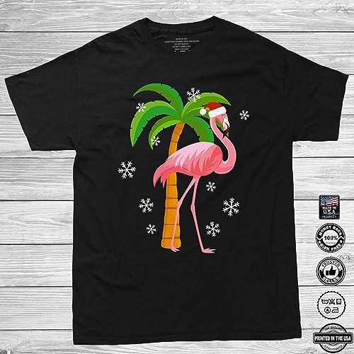 609983f698cdd Amazon.com  Pink Flamingo Santa Hat Christmas Holiday Xmas Gift Customized  Handmade T-Shirt Hoodie Long Sleeve Tank Top Sweatshirt  Handmade