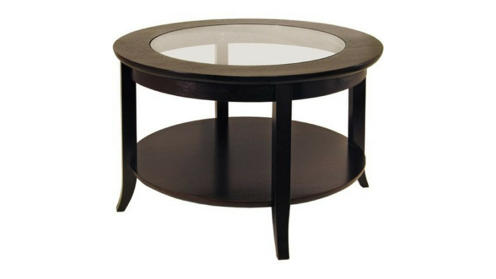 Frenchi Furniture Round Genoa Coffee Table With Glass Top, Dark Espresso by Genoa