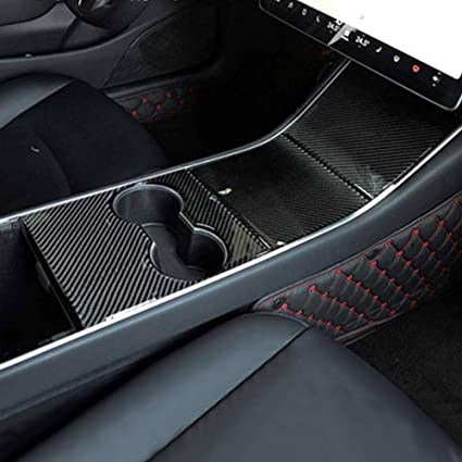 LMZX Model 3 Center Console Wrap ABS Matte Carbon Fiber Style for Tesla Model 3 Console Cover Protector Accessories