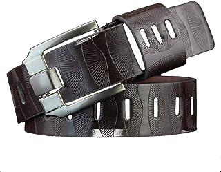 Cintura In Pelle Pu Moda Per Uomo Casual Cintura Casual Moderna Liscia Fibbia Per Il Tempo Libero (100 135Cm Nero Marrone Caffè Giallo)