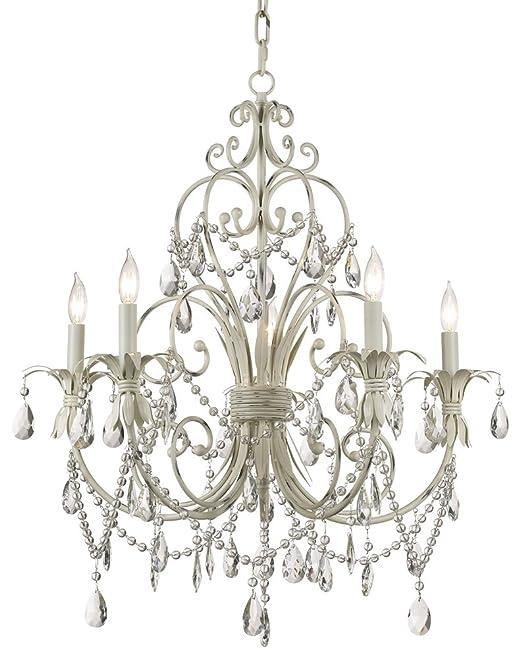 Cau Vieux Collection Antique White Five Light Chandelier Kathy Ireland Com