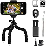 Keliiyo Phone tripod, Octopus Style Portable and Adjustable Camera Stand Holder Stabilizer with Bluetooth Remote and Universal Clip for Digital Product,Phone,GoPro (Small) …
