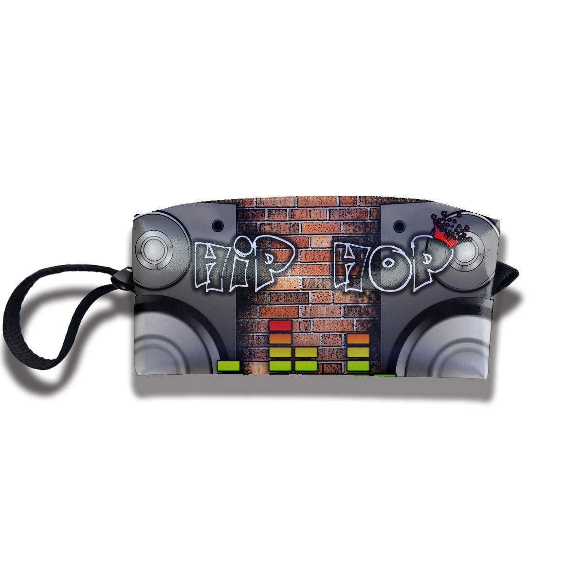 Cosmetic Bags With Zipper Makeup Bag Hip Hop Sound Middle Wallet Hangbag Wristlet Holder v5DGFJH.B