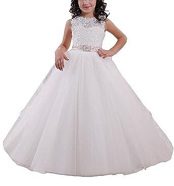 Amazon.com: Qianruidia A-line Lace White Flower Girl Dress Girls ...