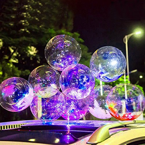 SUNKY 5pcs LED Light up Bobo Balloons, Latex Clear Transparent Round Bubble Colorful Flash String Decorations Wedding Room Courtyard Kids Birthday Party Set Glow Christmas Decor with Ball Pump by SUNKY (Image #1)