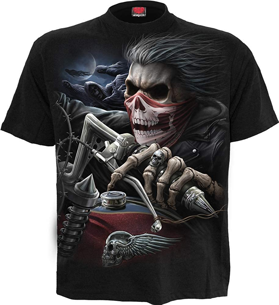 Spiral Men's Skull Rider T-Shirt Black