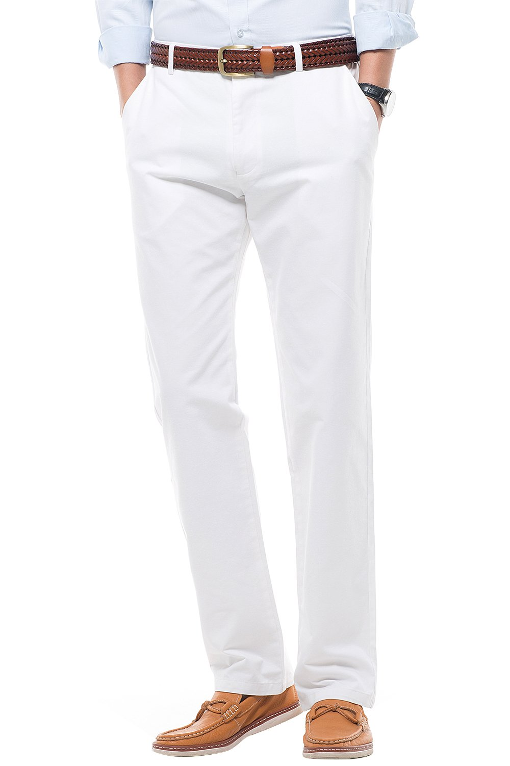 INFLATION Men's Stretchy Straight Fit Casual Pants,100% Cotton Flat Front Formal Trousers Dress Pants