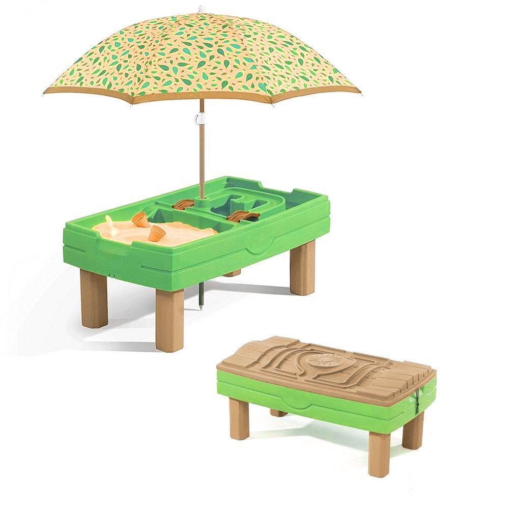 Sand Box for Kids with Cover Activity Water Table Outdoor Playful Center with Umbrella & Accessory Kit Sensory Play Fun Table Home Garden Beach Backyard Toy Splashing & Building Game eBook by BADAshop