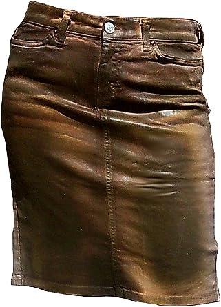 Fornarina Mujer Falda Marrón Model Ingle encerado piel óptica sexy ...