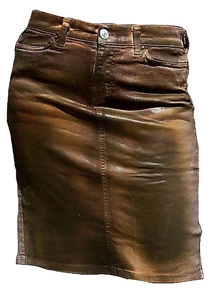 Fornarina Mujer Falda Marrón Model Ingle encerado piel ...