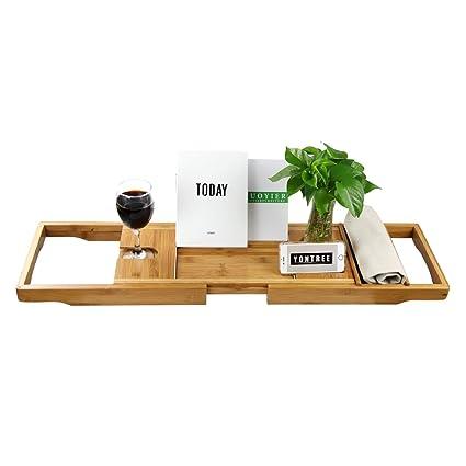 Amazon Com Yontree Bamboo Bathtub Caddy Tray Bathroom Organizer