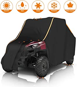 kemimoto UTV Cover with Reflective Strip, Ranger RZR Waterproof All Weather Storage Cover Replacement for Polaris Ranger RZR Protect Your SxS from Rain, Snow, Dirt, Debris and Damaging UV Rays