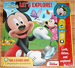 78f375644f1758 Mickey Mouse Clubhouse Let s Explore Take a Closer Look a Magnifying Glass  and Sound Book Hardcover – 2014