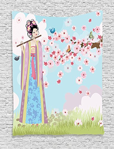 Supersoft Fleece Throw Blanket Music Collection Oriental Girl near Cherry Blossoms Spring Petals Butterfly Grassland Japan Design Print Blue Pink (Party City In Coral Springs)