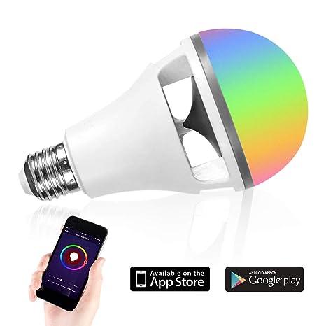 Bluetooth Bombilla Altavoz LED Lámpara -10W Luz Trabajar con iOS / AndroidApp 16 Millones de